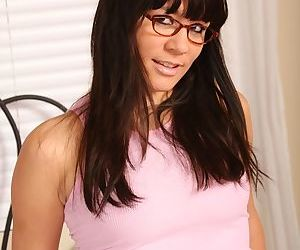 Teen amateur Miranda is a sexy brunette with glasses and big tits