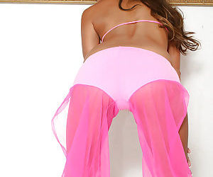 Petite Asian amateur Kara strutting non nude in bikini and wrap