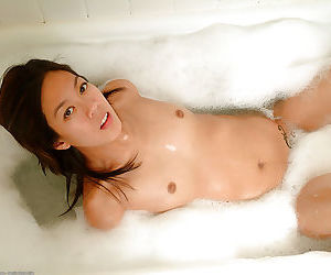 Skinny Asian first timer Starlingz and her hairy bush pose nude in shower