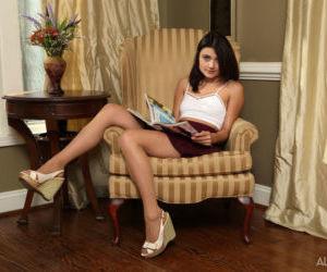 Dark haired non-professional Adria Rae uses various sex toys dimension masturbating
