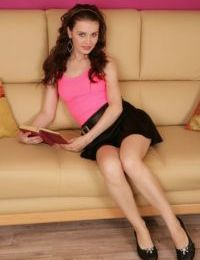 Teen first timer Natalia spreads her legs and then her labia lips