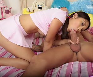 Cute Asian teen is nailed hard by a guy with a huge cock with hair in pigtails