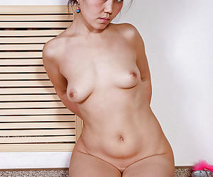 Petite Oriental mom Aksana exposing saggy breasts and beaver