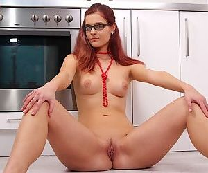 Horny redhead amateur Kalea Taylor spreading her juicy hairless pussy