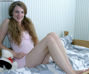 Wonderful babe with pigtails Aimee is revealing her outstanding ass