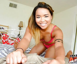 Tiny Asian amateur Riley pulling down her mans pants to suck his large dick