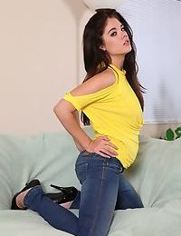 Black haired teen babe Brittany with beautiful big tits and sweet hole