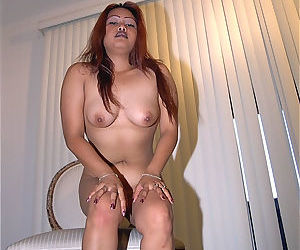 Leggy Asian first timer Lisa exposing small tits in glasses
