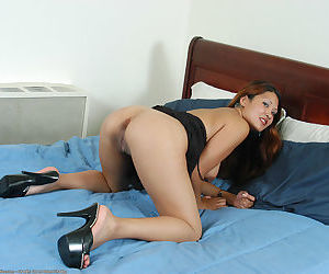 Asian first timer Kiya revealing wide open pink pussy underneath lingerie