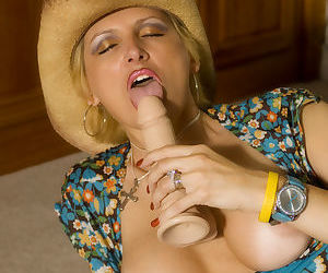 Horny cowgirl Racquel Devonshire toys her twat while flaunting her bare feet