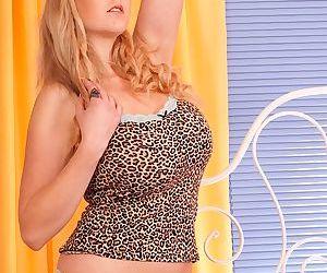 Fascinating beauty with slim legs Sapphire is posing in her panties