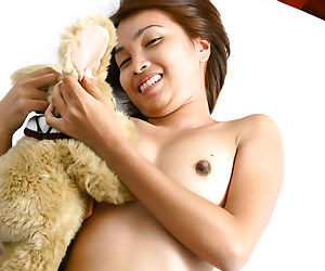 Asian first timer revealing small boobs and hard nipples while stripping