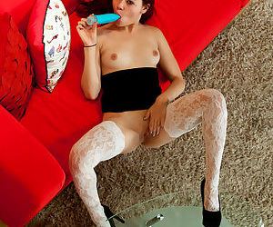 Japanese redhead Sydney Mai in lace stockings toying say no to shaved pussy in heels