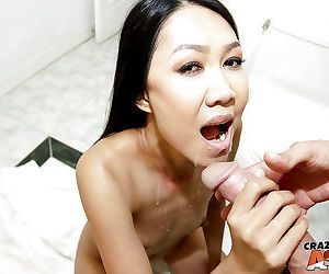 Sweet amateur Asian actress Tala Basi takes good portion of doggy style