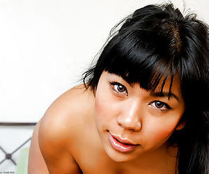 Exotic Asian amateur Kyanna and her hanging natural tits spreading vagina