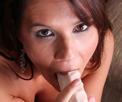 Middle aged amateur Dylan Dole gets busy with dildo insertion after stripping