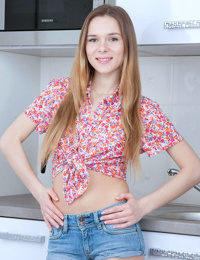 Sweet teen girl Karissa strips it all off to pose nude for the very first time
