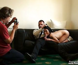Asian first timer Rina Ellis eating ass and throat fucked during rough sex