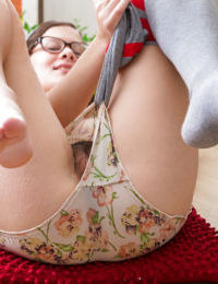 Young nerdy girl Tallulah pulls down panties to finger fuck hairy pussy