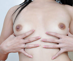 Tiny Asian spinner Keithlene flaunting perfect A cup boobs and trimmed cunt