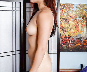Petite Asian first timer Lea Hart pulls panties aside for close ups