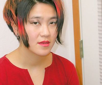 Asian amateur Cady flashing panties before masturbating hairy vagina