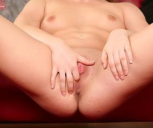 Teen babe Alessandra Jane smiles on cam and masturbates her vagina