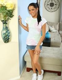 Pretty teener Tanner Mayes hiking denim skirt to reveal pink underwear