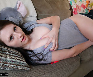 Teen first timer Freckles 18 playful fools around at home in her bedroom