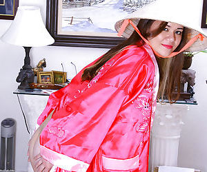 Exotic Asian first timer Sailor exposing tiny breasts under Kimono