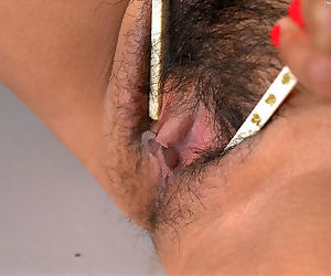 Oriental amateur Sexual flaunting smallish tits while spreading hairy cunt