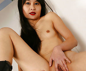 Pretty amateur Asian brunette Angel with excellent ass and long legs