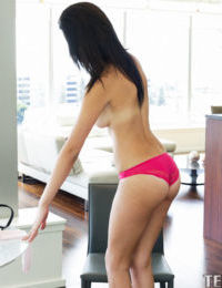 Beautiful brunette girl with small ass undressing so beautiful