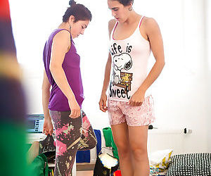 College girls Marietta and Sabina M dressing nude bodies after sex