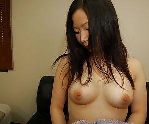 Astonishing Japanese cutie Ayumi Shoda strokes her little holes