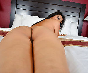 Asian in fishnet Angelina Chung is spreading her legs so sexy