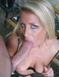 Sweet blonde Ginger Spice is giving a spicy deep blowjob on camera