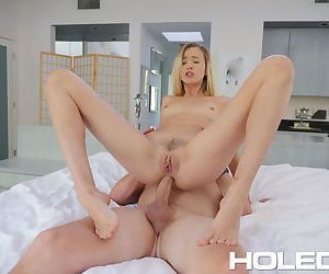 Young blonde girl Haley Reed screams in pain during her first ass fucking