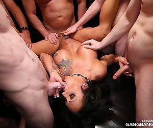 Pierced tattooed Ashton Blake gets streaming creampie in raunchy gangbang