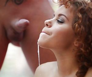 Flat-chested curly European teen Netu gets double fucked nicely