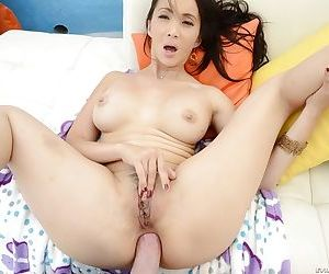 Slutty asian MILF gives a deepthroat blowjob and gets anally drilled