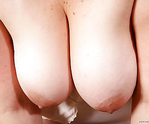 Hairy fatty showing off furry underarms and spreading beaver