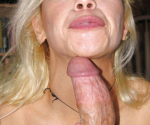 Mature blonde Alex Dane gives a blowjob for that venous hard dick