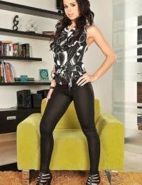 Skinny slender brunette Ferrara Gomez is playing with her high body