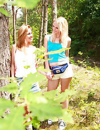 Outdoor lesbian sex features astounding teen beauty Kim G and her gf