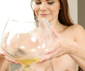 Hungry fox Paulina pours liquid on her wonderful tits and rubs nipples