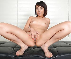 Amateur Asian Miko Dai posing barefoot and flashing gaping asshole