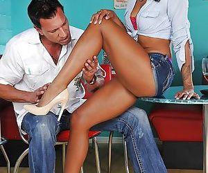Ebony teen with tiny tits Harley Dean takes part in foot fetish scene
