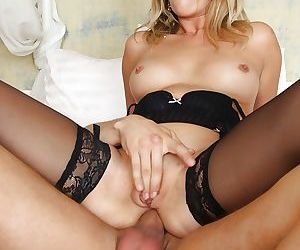 Stocking attired female Ani Black Fox having her asshole ripped by large cock