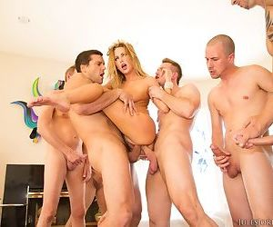 Pornstar Carter Cruise has an out of body experience during a gangbang